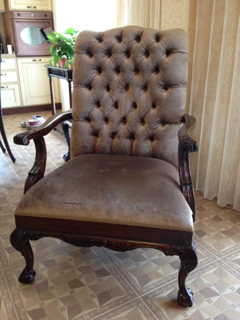 Мягкое кресло в стиле Чиппендейл (английская классика) производства Индонезия
