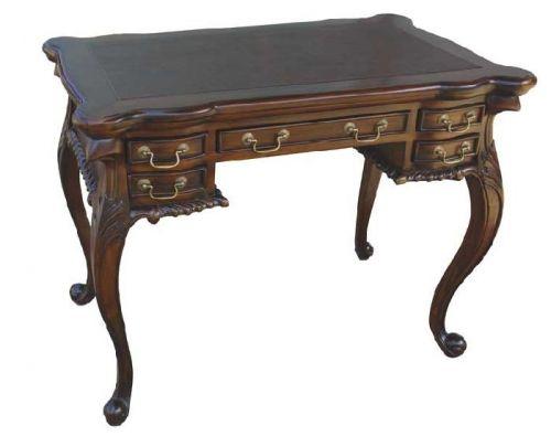 Письменный стол виз масиива натурального красного дерева (махагони), отделка стлешницы натуральной кожей, ручная работа